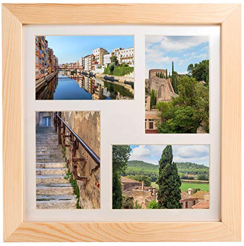 (Natural Wood Square Collage Photo Frame 12x12 inch - Made to Display Four (4) 4x6 inch Pictures with)