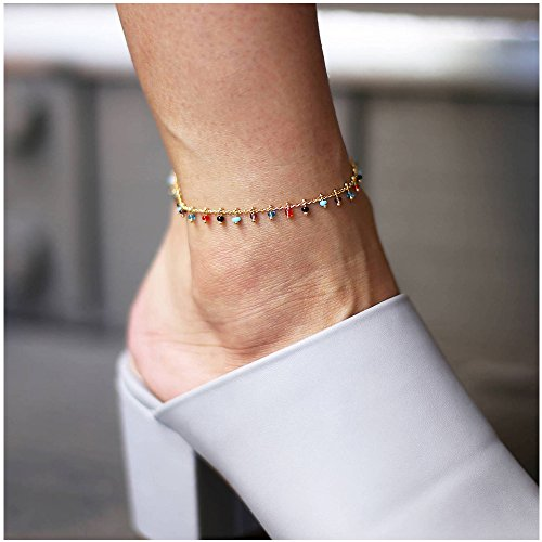 - MINGHUA Boho Dangling Multi-Colored Crystal CZ Chain Rhodium Anklet
