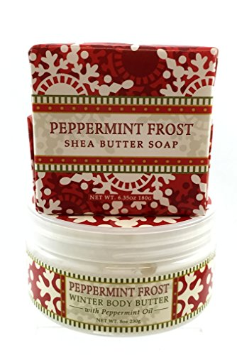 [Greenwich Bay PEPPERMINT FROST Christmas, Thanksgiving, Holiday Scents, Triple Milled Soap and Body Butter Gift] (Peppermint Costumes)