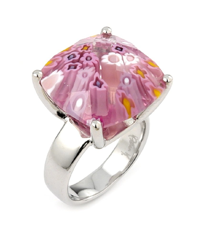 Radiant Pink Millefiori Glass Ring Sterling Silver Size 7