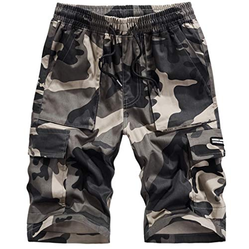 Plaid Snowboarding Jacket - VEZAD Camo Shorts Half-Length Sport Belts Pants Men Summer Buckle with Zipper Straight Loose Shorts