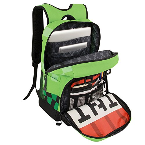 JINX Minecraft Creeper Kids Backpack (Green, 18'') for School, Camping, Travel, Outdoors & Fun by JINX (Image #2)