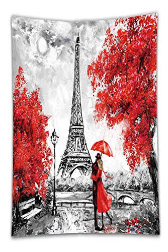 Nalahome Fleece Throw Blanket Oil Painting Paris European City Landscape France Wallpaper Eiffel Tower Black White And Red 566913643 Buy Online In China Nalahome Products In China See Prices