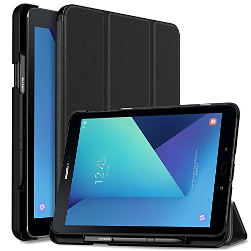 INFILAND Samsung Galaxy Tab S3 9.7 Case, Slim Tri-Fold Shell Cover with S Pen Protective Holder for Galaxy Tab S3 9.7-Inch Tablet SM-T820/ T825/ T827 2017 Release Auto Wake/Sleep, Black (Clearance Samsung S3 Case)