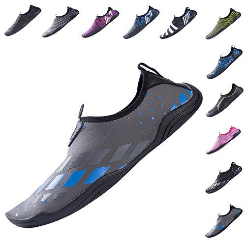 YQXCC Water Shoes Mens Womens Quick Drying Slip-On Aqua Shoes for Beach Surf Swim Driving Boating Yoga Gray Blue