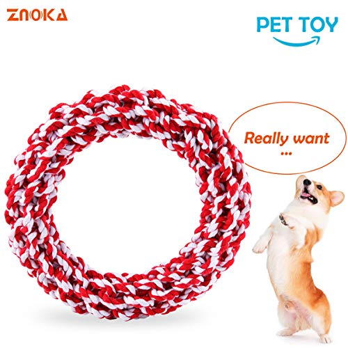 - ZNOKA Dog Rope Toys, Non-Toxic 100% Cotton Tough Dog Chew Toys for Large Dogs Aggressive Chewers, Puppy Training Toy, Adult-Senior, Dental Floss Rope for Dogs' Dental Health