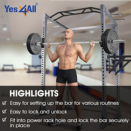 Yes4All J-Hooks Barbell Holder for Power Rack - Fit 2x2, 2x3, 3x3 Square Tube (Pair) (Black - J-Hook) by Yes4All (Image #6)