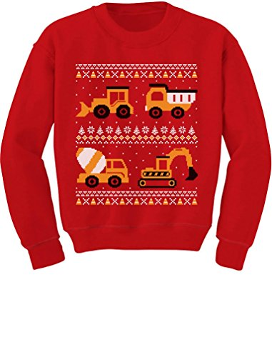 Tractors & Bulldozers Ugly Christmas Sweater Style Toddler/Kids Sweatshirts 4T Red -