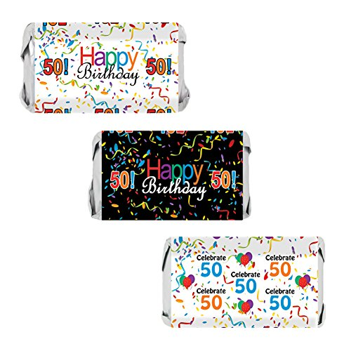 50th Birthday Party Miniatures Candy Bar Wrapper Stickers, Multi-Colored (54 Count) (Candy Bar For Party)