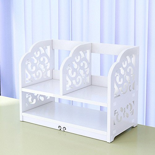 Moon_Daughter 2 Pcs Small Table Craft Table Art Desk Storage Bookcase White