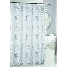 Moda at Home 204425 Enchanted Water Repellent Fabric Shower Curtain, 71-Inch X 71-Inch, Grey and White