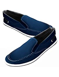 Men's Canvas Navy Blue Slip-On Boat Shoes