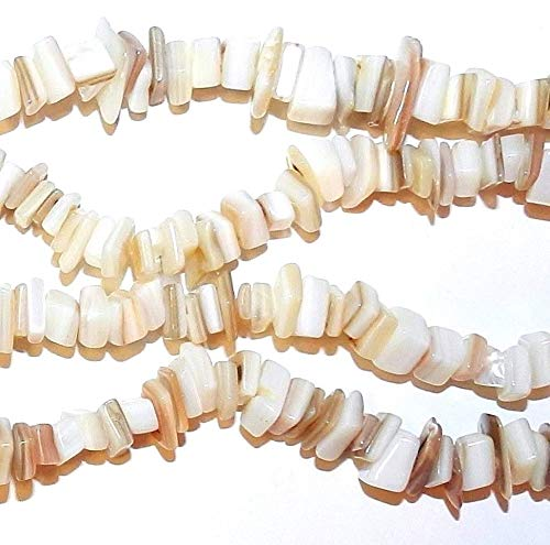 - Natural White - Brown Small 7mm - 8mm Mother of Pearl Shell Chip Bead 35#ID-4066