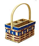 KIP Americana Patriotic Silverware Utensil Caddy Flatware Holding Picnic Basket for Military 4th of July Party Supply in Rustic Red Blue and Natural Wood at 12H x 5.25D x 5.5W x 9.5L, 1 per order