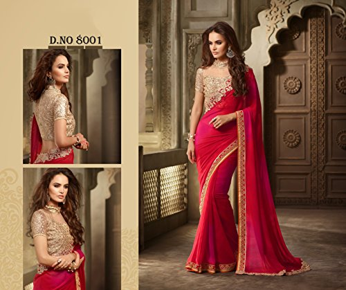 Delisa-Fashion-IndianPakistani-Designer-Womens-Traditional-Georgette-Saree-S8000-Pink