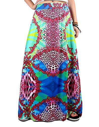 NiSeng Femmes Floral Imprim Maxi Jupe Bohmien Longueur Plage Jupe Et Rtro Jupe Style 12#