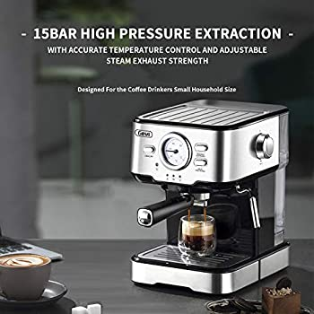 Espresso Machines 15 Bar Coffee Machine with Milk Frother Wand for Espresso, Cappuccino, Latte and Mocha, 1.5L large Removable Water Tank and Double Temperature Control System, Stainless Steel