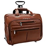 McKlein USA OHARE R Series Leather 17'' Detachable-Wheeled Laptop Case in Brown