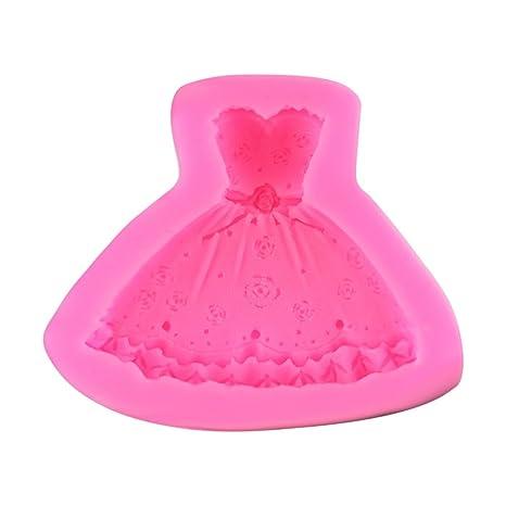 Boda Princesa Vestido silicona Arts Clay Formas Fondant tarta Decoración Accesorio de cocina Molde DIY,