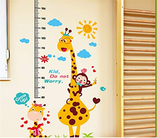 Animals Height Measure Wall Stickers DIY Kids Rooms Nursery Growth Chart Home Decor Height Chart Rule Sticker,Christmas Gift, Halloween, 150-180CM -