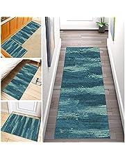 Tapijt lopers Voor Gangen Antislip, Lange Abstract Tapijt Polyester Wasbaar Geschikt voor gang, keuken, woonkamer, Breedte 60cm/ 70cm/ 80cm/ 90cm/ 100cm