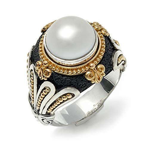 Konstantino Women's 925 Sterling Silver, 18K Gold and Pearl Ring, Size 6