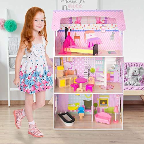 Kids House Casa de Muñecas de Madera con Muebles -Stephanie- Casita de Juguete para Niñas