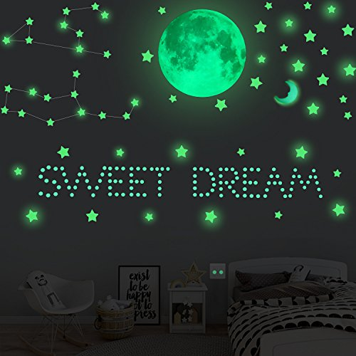 Glow in the Dark Stars 211 Pcs with 1 Full Moon Stickers and 407 Pcs Wall Stickers Amazing Night Luminous Set Home Decor-Perfect Gift for Kids Boys Girls (Pale Green)