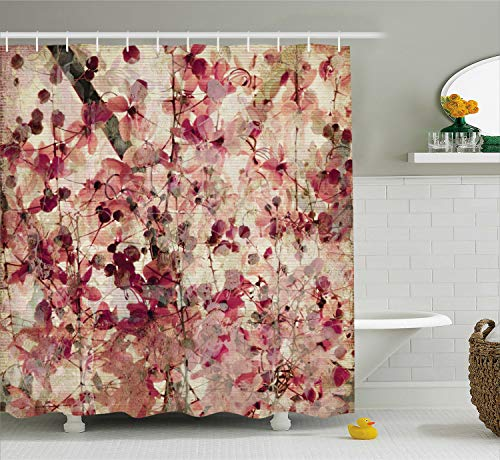 Ambesonne Floral Shower Curtain Antique Decor, Grungy Effect Cherry Blossoms on Ribbed Bamboo Retro Background Floral Art Work, Polyester Fabric Bathroom Shower Curtain Set with Hooks, Pink Beige