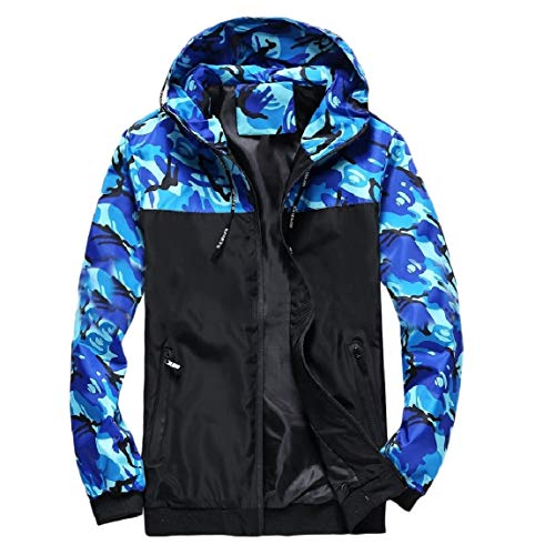 Colors Simple Blue MogogoMen Camouflage Zip Outwear Jacket Full Hoodie Assorted qECPnwCv7
