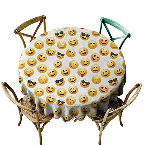 (Homrkey Emoji Machine Washable Tablecloth Smiley Face Character Illustration Feeling Happy Surprised Cool and in Love Soft and Smooth Surface Yellow Red Black (Round - 63