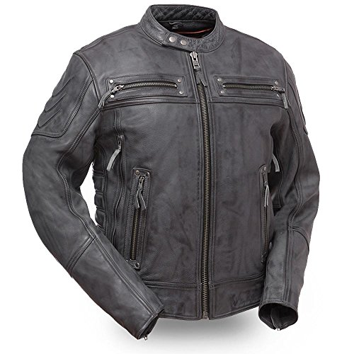 (First Mfg Co Men's Intense Warrior King Leather Jacket (Anthracite Gray, Large))