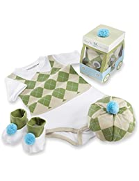 Three Piece Layette Set in Golf Cart Package, Green/White, 0-6 Mos.