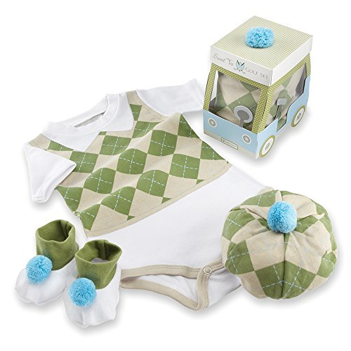 Baby Golf Clothes (Baby Aspen Three Piece Layette Set in Golf Cart Package, Green/White, 0-6 Mos.)