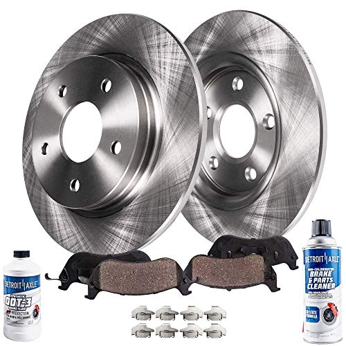 Detroit Axle - Pair (2) Rear Disc Brake Rotors w/Ceramic Pads w/Hardware & Brake Cleaner & Fluid for 1999 2000 2001 2002 2003 2004 Jeep Grand Cherokee