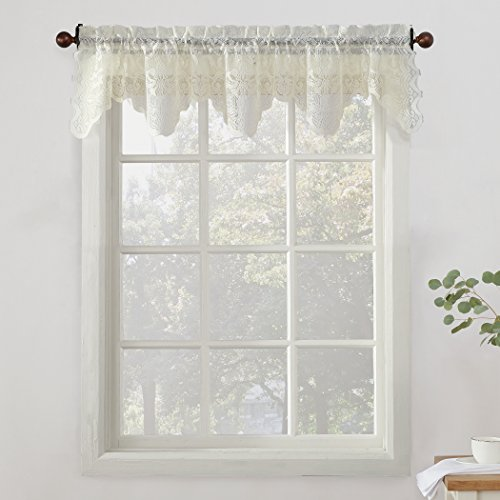 No. 918 Alison Floral Lace Sheer Kitchen Curtain Valance, 58