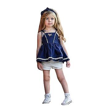 c64c5f011b45f Aliciga 子供服 女の子 デニム キャミソール ベスト + ショートパンツ 2点セット ベビー服 花 刺繍