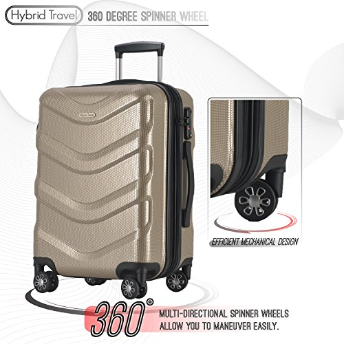 2 PC Luggage Set Durable Lightweight Hard Case Spinner Suitecase LUG2 RA8713 CHAMPAGNE by HyBrid & Company (Image #3)