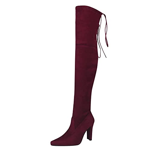 b2fcfe3845b Theshy Shoes Women Stretch Faux Slim High Boots Over The Knee Boots High  Heels Shoes