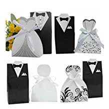 Urparcel 100pcs Creative Tuxedo and Dress Groom Bridal Wedding Party Favor Boxes Ribbon Box Candy Gift #2