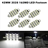 Partsam 6pcs 42MM festoon led Dome 16SMD No Error LED 3528 Car Interior Light White For 2005-2013 Ford Escape