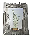 new york frame - New York Souvenir Metal Pewter Picture Frame with Statue of Liberty Empire State Building Freedom Tower NYC Skyline Fits 4x6 Photo