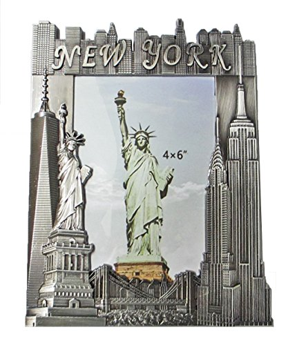 (New York Souvenir Metal Pewter Picture Frame with Statue of Liberty Empire State Building Freedom Tower NYC Skyline Fits 4x6 Photo)