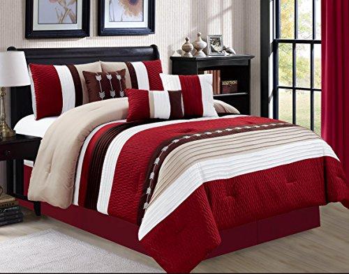 Circles King Comforter Set (Luxlen 7 Piece Luxury Bed in Bag Comforter Set, Oversized, Burgundy, King)