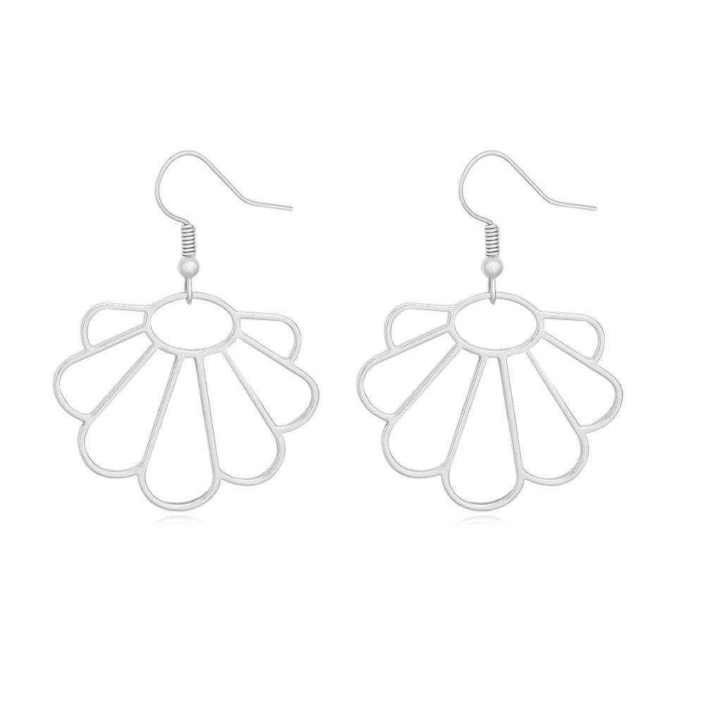 MANZHEN Hollow Seashell Dangle Earrings Summer Sea Shell Earrings Sea Life Jewelry