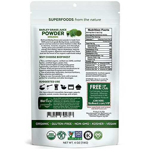 Biofinest Barley Grass Juice Powder - 100% Pure Freeze-Dried Antioxidant Superfood - USDA Organic Vegan Raw Non-GMO - Boost Energy & Immunity - For Smoothie Beverage Blend (4 oz Resealable Bag)