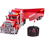 """Toy Semi Truck Trailer 23"""" Electric Hauler Remote Control RC Transporter Truck Ready to Run Full Cargo Big Rig (Red)"""
