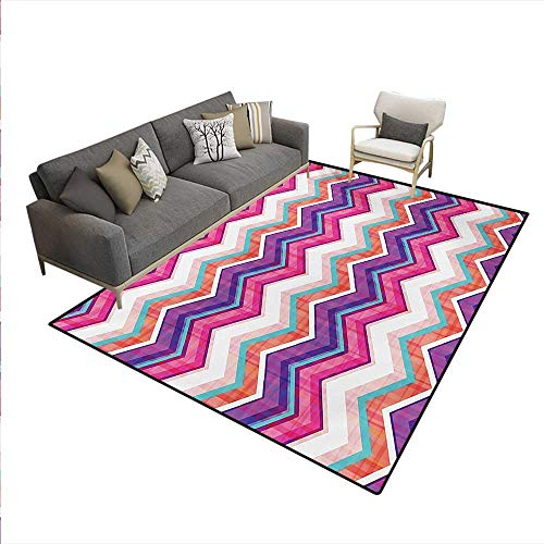 Carpet,Chevron Motifs Variable Angles Parallel Lines Groovy Artwork,Print Area Rug,Multicolor,6'x9'