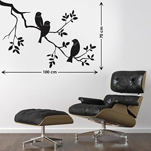 Decals Design 'Awesome Birds' Wall Sticker (PVC Vinyl, 45 cm x 60 cm, Black)