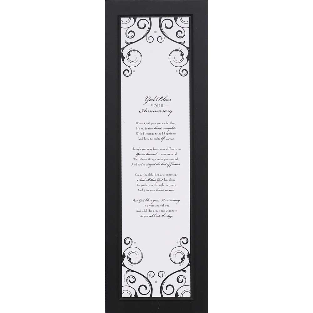 Dicksons God Bless Your Anniversary Classic Black And White 6 x 18 Wood Wall Sign Plaque
